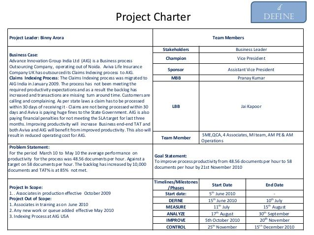 Project Charter Example Project Charter Excel Templates Project