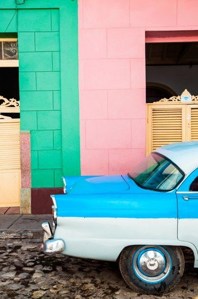 """One of Cuba's beloved """"Yank Tanks,"""" licensed as privately owned taxis."""