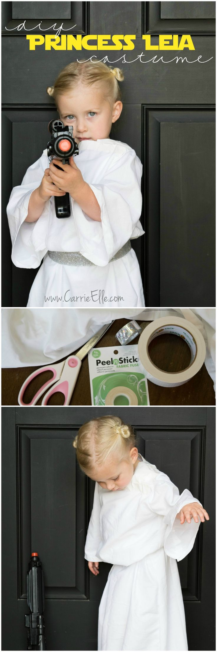 This simple DIY Princess Leia costume was easy to make and inexpensive, too! It's great for playing dress-up but will also be a fun Halloween costume (and you could easily make this for a child any size or an adult).