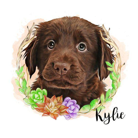 Pet Portrait With Succulents Custom Dog Lover Gift Unique Birthday Mom Rustic Decor Printable Digital Files