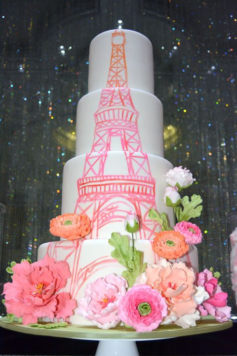 A Sweet Sixteen in Paris with an ombré Eiffel Tower and pretty blooms