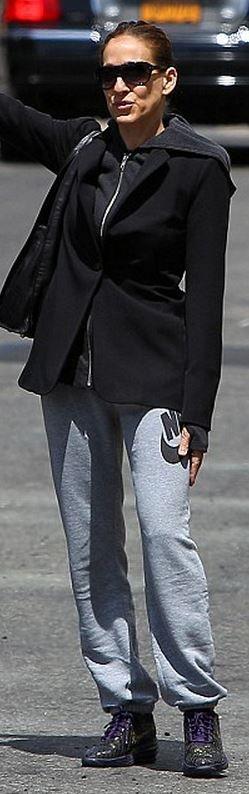 Sarah Jessica Parker: Jacket – Reese + Riley  Pants – Nike
