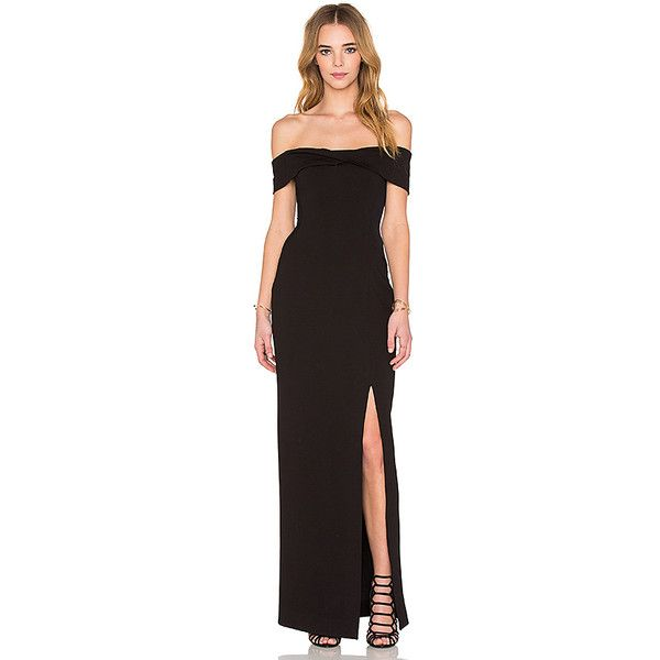 n / nicholas Ponti Knot Front Off Shoulder Gown Dresses (£400) ❤ liked on  Polyvore featuring dresses, gowns, mesh insert dress, mesh panel dress, ...
