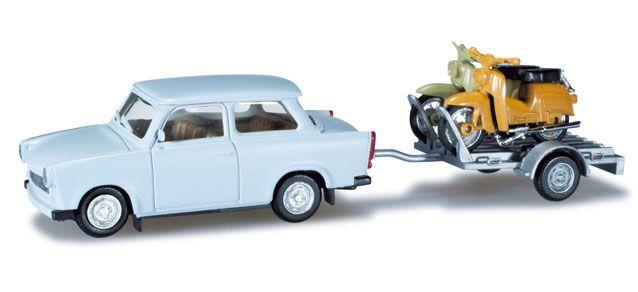 Herpa 027502 Trabant 601 Limousine mit Anhänger und 2x Simson KR 51/1