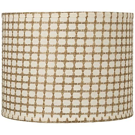 211 best lamp shades images on pinterest lamp shades lampshades cream fabric drum shade with square tan weave pattern style at lamps plus mozeypictures Gallery