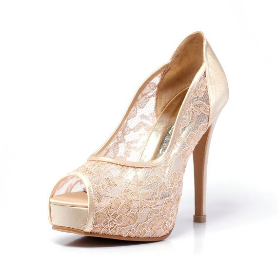Champagne Gold Lace Wedding Shoe, Peep Lace Satin Wedding Heels, Golden Champagne Bridal Shoes,Gold Wedding Shoes on Etsy, $80.00