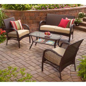 patio brick paversPatios Furniture, Patio Furniture, Patio Sets, Patios Sets, 4 Piece Patios, Backyards Living, Back Porches, Patios Ideas, Furniture Sets