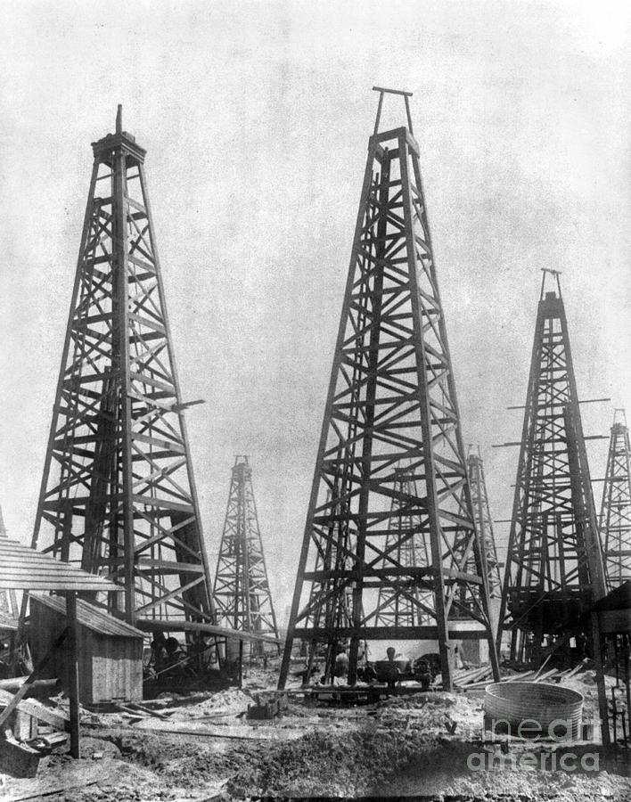 Texas Oil Derricks, C1901 by Granger Offshore bank, Oil