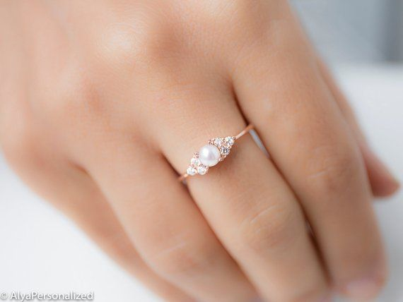 14k Rose Gold Engagement Ring Pearl Engagement Ring Diamond