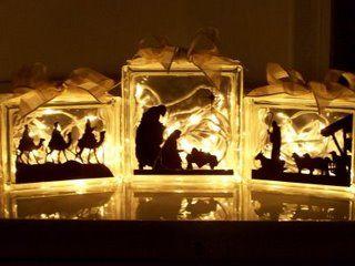 Nativity: Lights Silhouette, Native Lights, Blocks Native, Cute Ideas, Glasses Blocks, Native Ideas, Lights Up Native, Christmas Ideas, Native Sets