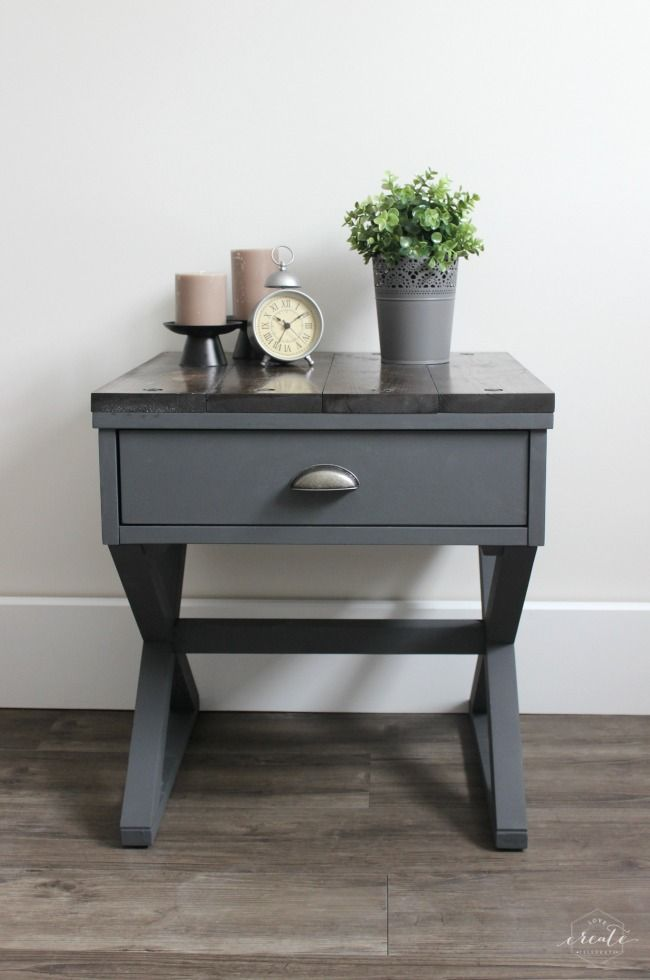 An industrial side table - painted using Fusion's Ash & Casement