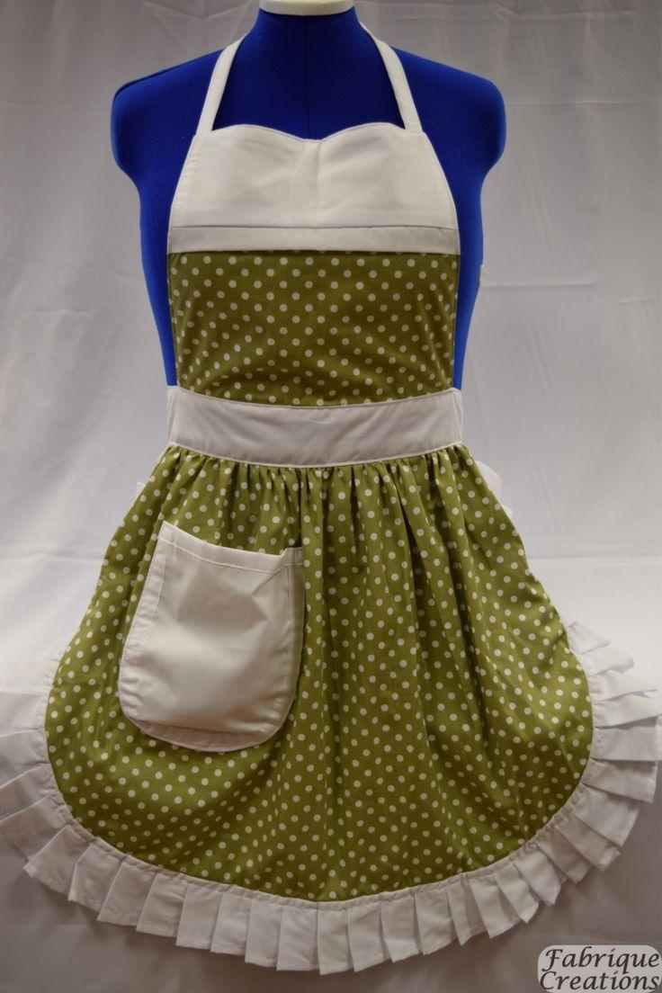 White apron etsy - Retro Vintage 50s Style Full Apron Pinny Sage Green White Polka Dot With White Trim