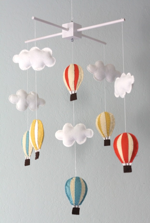 hot air balloon mobile. boys nursery. Gives me an idea to making one for future nephew or niece