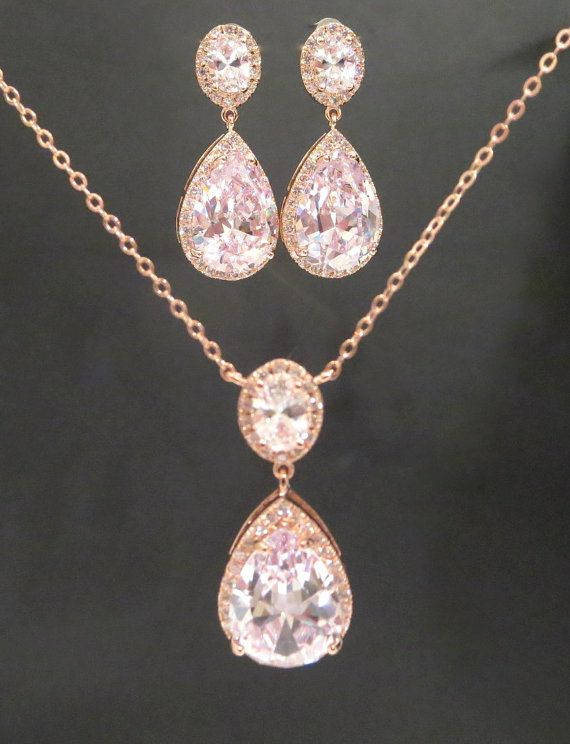 Rose Gold Wedding jewelry SET Rose Gold necklace by treasures570