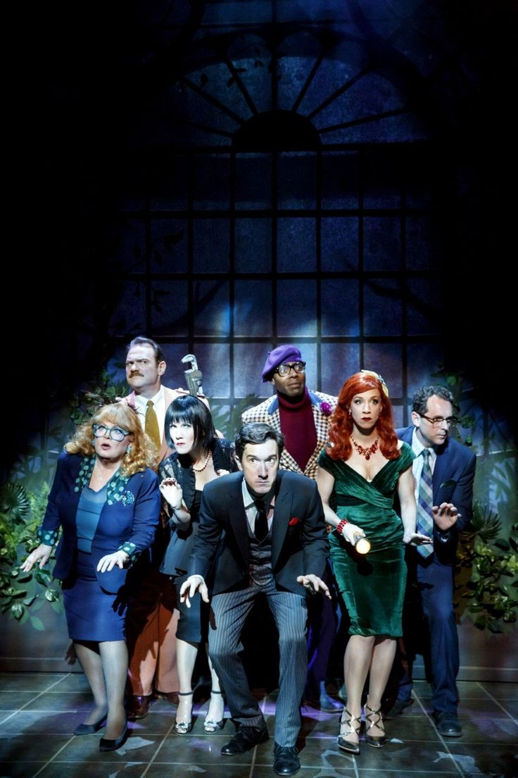 "Sally Struthers, Kevin Carolan, Erin Dilly, Carson Elrod, Clifton Duncan, Lindsay Nicole Chambers, and Brian J. Carter in ""Clue: On Stage."""