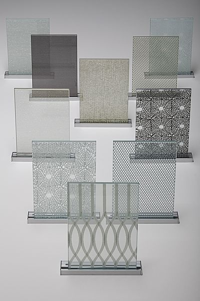 TEX GLASS : laminated glass from Siant-Gobain with fabrics or mesh.  Textile DesignLaminated GlassMaterial BoardBuilding MaterialsPattern Design Innovations ...