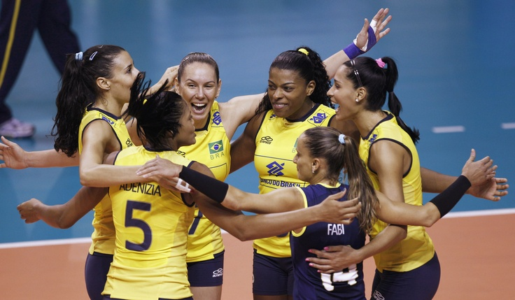 Image detail for -Brazil's volleyball team celebrates a point against Peru