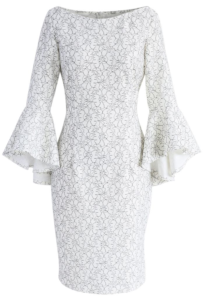 Floral Gallery Shift Dress with Bell Sleeves  - New Arrivals - Retro, Indie and Unique Fashion