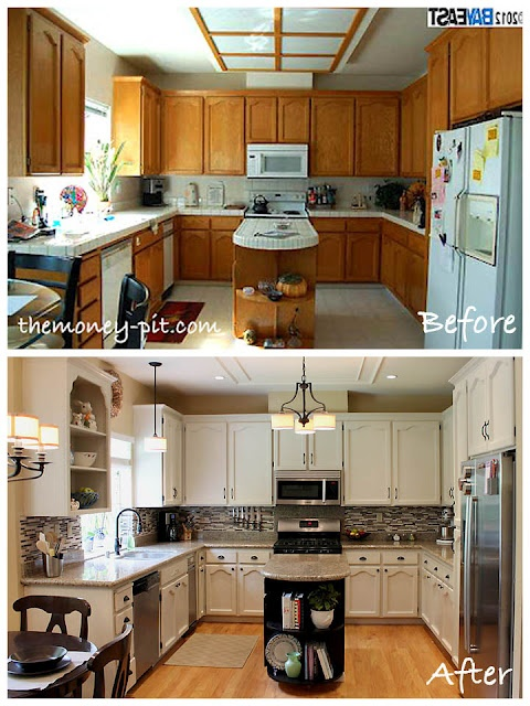 The Money Pit: awesome DIY fixer-upers: Kitchens Remodel, Kitchens Updates, Kitchens Redo, Awesome Ideas, Oak Kitchens, White Cabinets, Kitchens Cabinets, Kitchens Makeovers, Lights Fixture