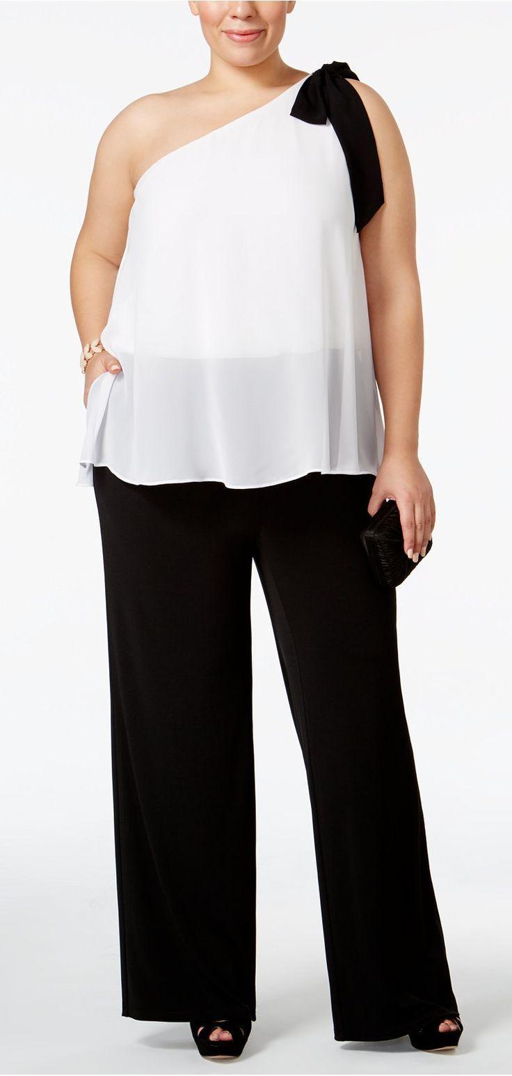 Plus Size One-Shoulder Colorblocked Jumpsuit