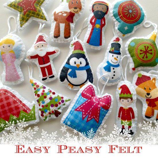 Addobbi natalizi in pannolenci con carta trasferibile Modelli