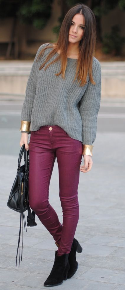 A coated, berry colored jean is perfect for fall. Pair them with a thick neutral sweater and gold accessories for an on-trend look for the season.