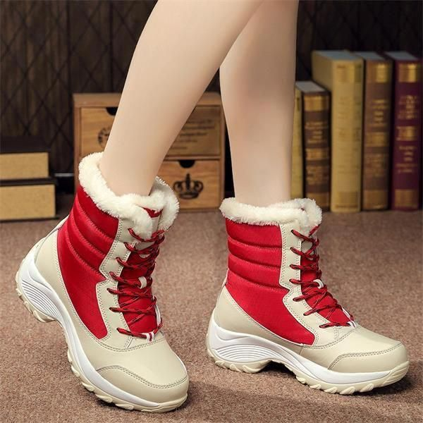 11f4fa175 Women Boots Non-slip Waterproof Winter Ankle Snow Boots with Thick ...