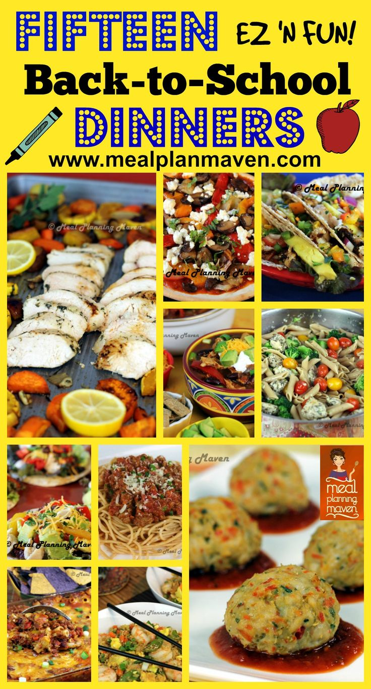 15 Back to School Dinners l Meal Planning Maven's Blog l Don't let dinner menu planning get you down! MPM has your family covered with yummy pizza, tacos, meatballs, crockpot goodies, pasta and MORE!