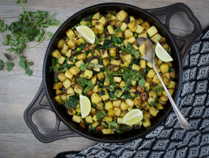 This Potato, Pea and Spinach Curry is a really easy to make, delicious curry side dish or main meal. It's gluten, dairy, grain free and vegan.