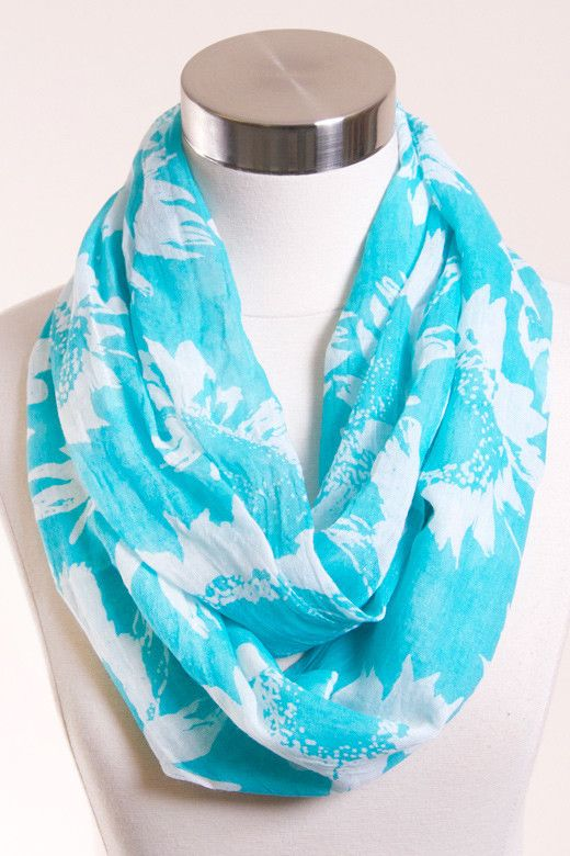 spring scarf. AQUA SUNFLOWER PRINT INFINITY SCARF from www.betsyboosboutique.com/