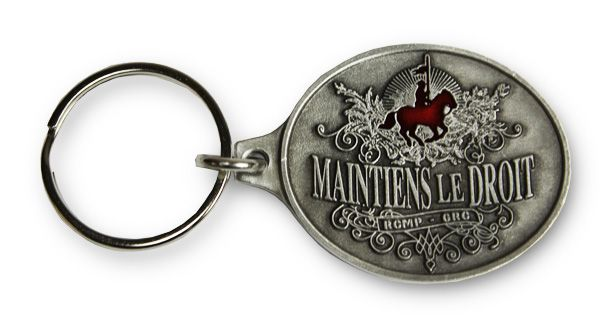 """$5.99 The official motto of the Mounted Police, """"Maintiens le Droit"""" has been a saying that has been around since the 14th century when it was used by several families in Britain. Directly translated from French, """"Maintiens le Droit"""", means """"maintain the right"""" and that is exactly what the Royal Canadian Mounted Police do. Wear the """" Maintains le Droit"""" key chain on your key ring and wear a key chain with over a century of history."""