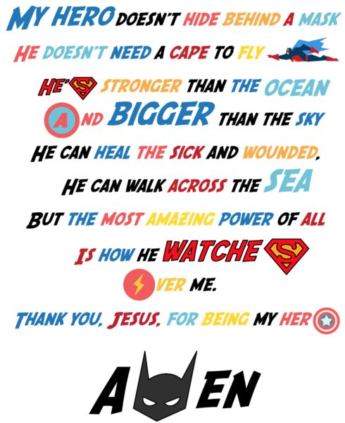 FREE Superhero Prayer Printable