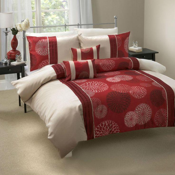Matrimonio Bed Cover : Calidad adornado rojo vino beige funda de edredón juego