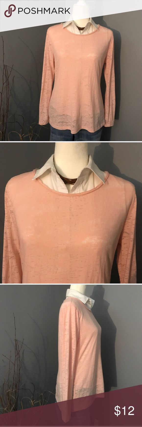 Light Pink Long Sleeve Burnout Tee You'll be pretty in pink with this lightweight burnout tee. Perfect for layering. Pair with your favorite jeans and boots to complete the look! Excellent condition. Size L Cato Tops Tees - Long Sleeve