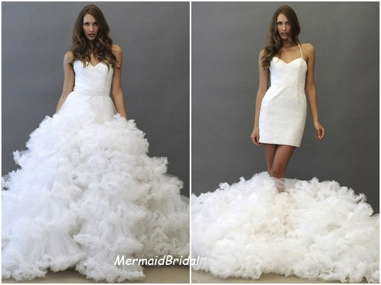 Two in one wedding dress with detachable ruffly skirt, Ivory wedding dress, Ball gown, Spaghetti Strap with sweetheart Neckline.