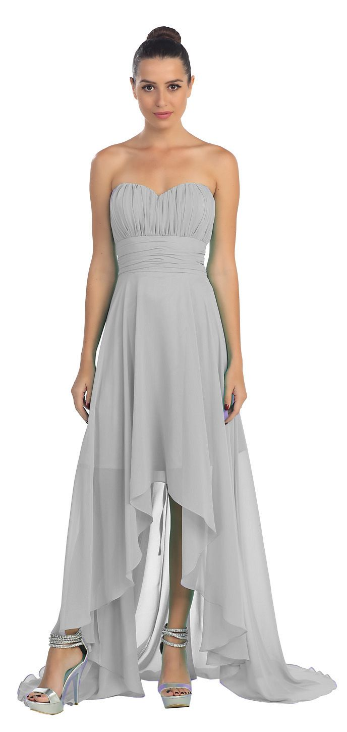 Silver bridesmaid high low dress a line chiffon sweetheart for Free wedding dresses low income