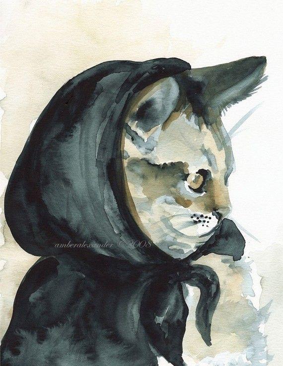 .Cat Art, Art Vintage, Cat Fashion, Cat Painting, Red Riding Hoods, Amber Alexander, Inky Riding, Black Cat, Hoods Cat