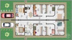 PLANTAS DE CASAS com 3 quartos, Arquitetura moderna   Na Internet