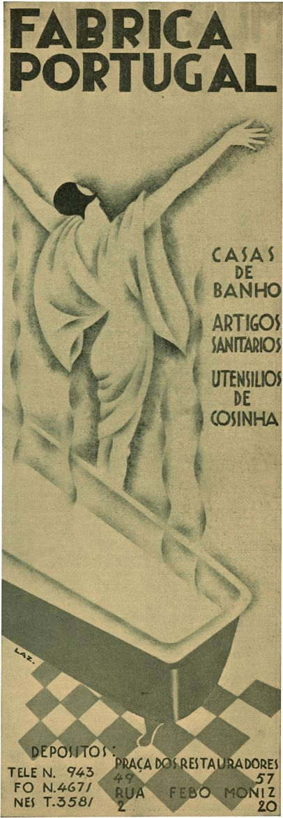 "Portugal Factory Advertisement, 11, April 26, 1930. The Portuguese ""Film Chronicle"" magazine's distinctive advertisement created by designer/illustrator, Lazarus. 1930."
