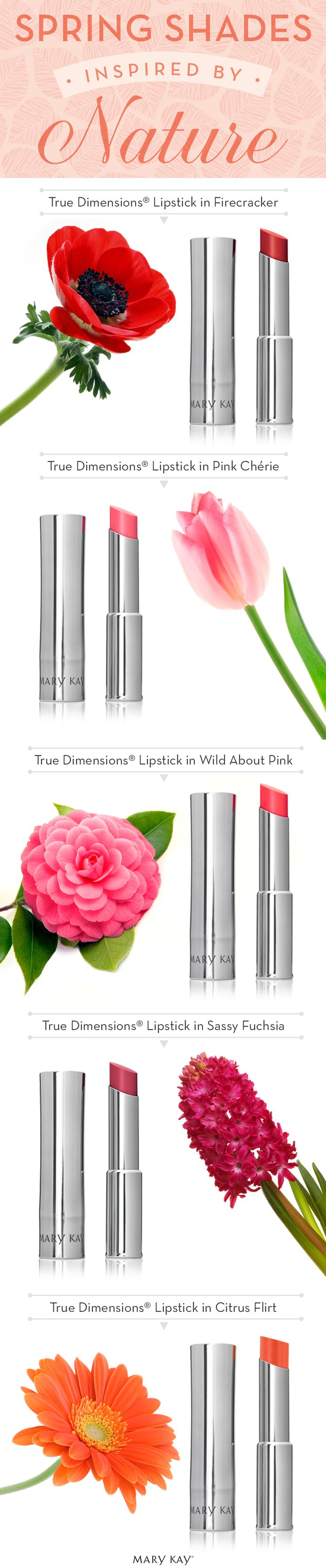 Our current makeup look is inspired by the beautiful and vivid colors outside! Choose your favorite springtime flower, then find a matching lip shade from over 45 Mary Kay® Lipsticks.