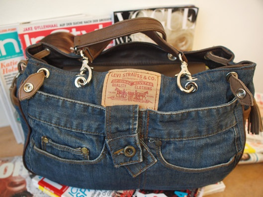 Jeansbag with Leather. Found on Etsy. Jeans are so great to recycle!