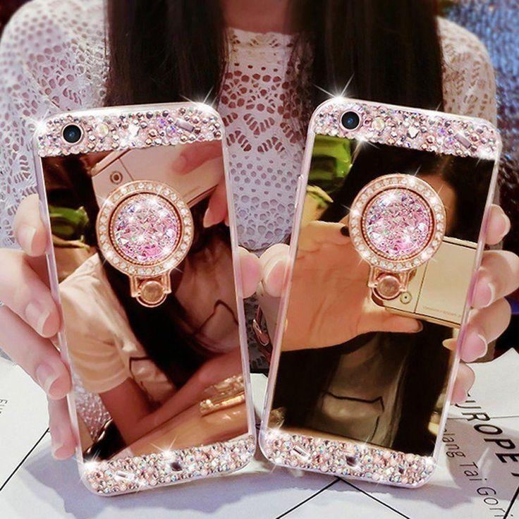 iPhone X, 8 Plus, 8, 7 Plus, 7, 6/S Plus, 6/S - Crystal Gem Mirror Ring Holder Kickstand Case