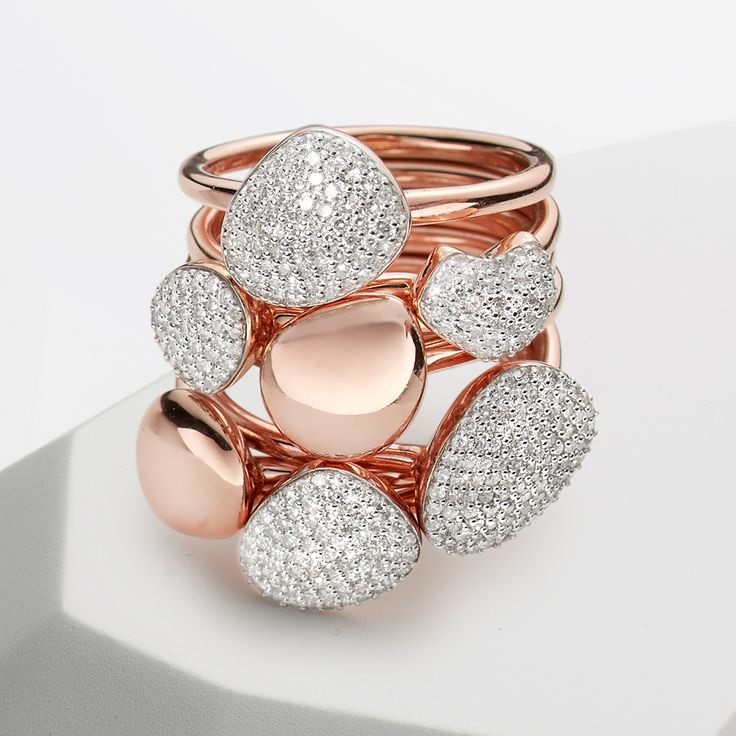 A statement Nura 18ct rose gold vermeil and #diamond ring stack.