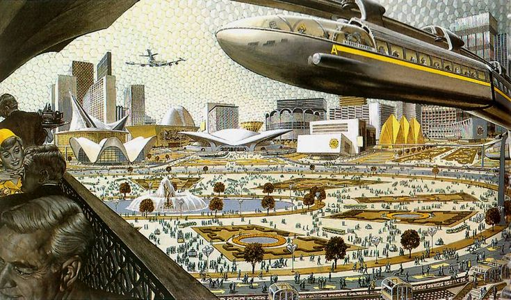 City beneath a geodetic cupola, by Fred Freeman, 1959
