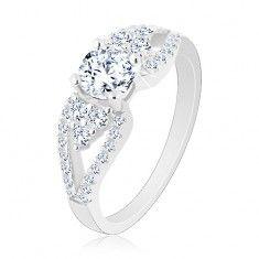 925 ezüst gyűrű, csillogó cirkónia, levelek az oldalain, kettős szárak
