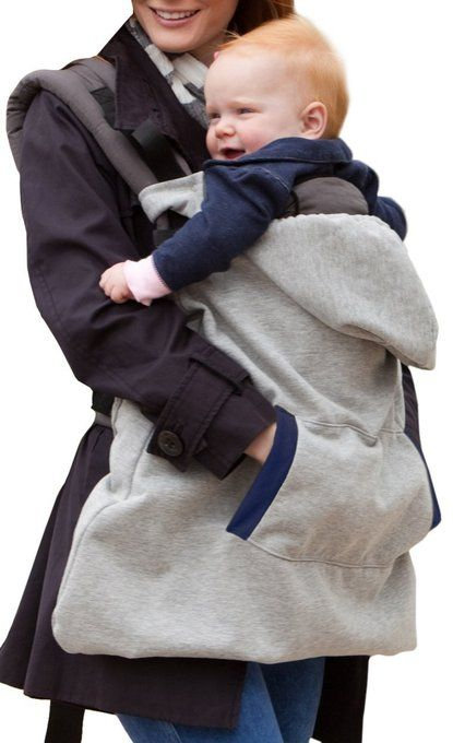 this carrier cover has a hoodie for baby and a pocket to keep mommy or daddy's hands warm. so clever!