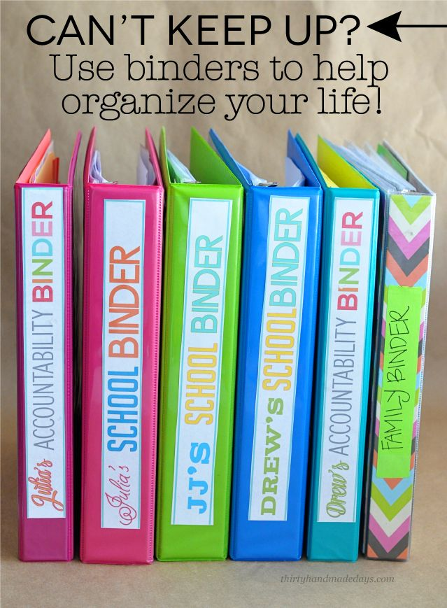 Binders for organizing your whole life! Keep everything in one spot and you will be able to keep up and know where everything is.