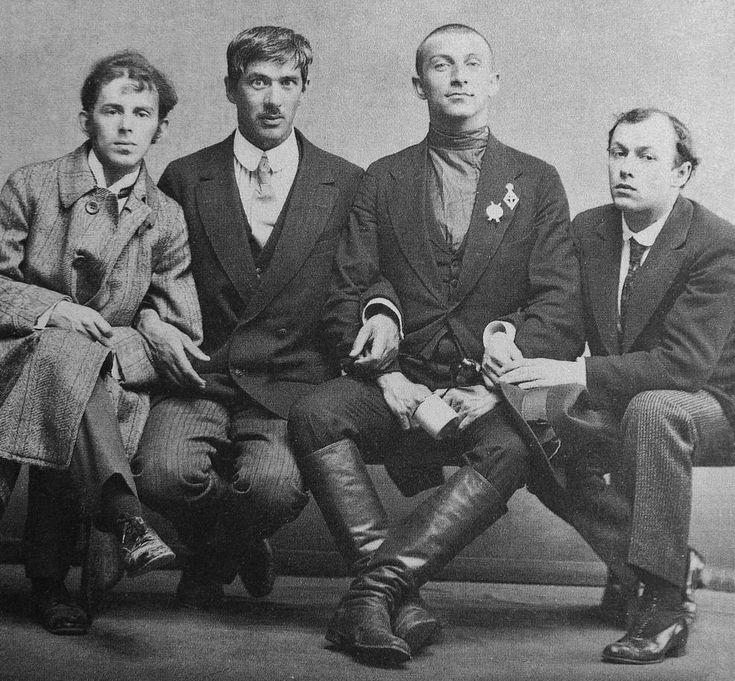 (left to right) Osip Mandelstam + Korney Cukovsky + Benedikt  Livshiz + Yuri Annenkov | 1914 Karl Bulla.jpg