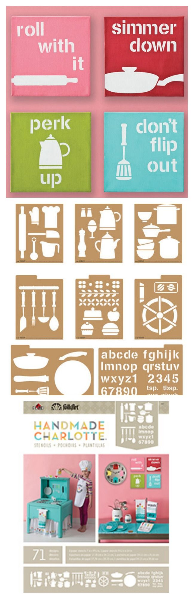 Handmade Charlotte die-cut, reusable kraft paper stencils - functional, family-friendly designs make it easy to craft. modern retro icons--68 designs--to decorate everything from cookbooks and recipe cards to gifts from the kitchen.  #plaidcrafts #crafting #diy