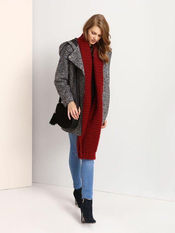 płaszcz damski  długość regularna jasnoszary - TPZ0104 TROLL